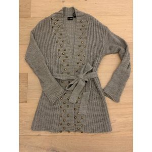 Gold Studded Gray Cardigan